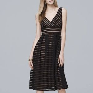 WHBM Shadow Stripe Fit-And-Flare Dress. Sz 16